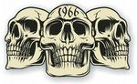 Vintage Biker 3 Gothic Skulls Year Dated Skull 1966 Cafe Racer Helmet Vinyl Car Sticker 120x70mm
